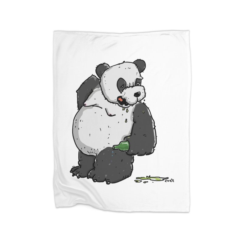 The Panda-Bear drinks Panda-Beer Home Blanket by Illustrated Madness