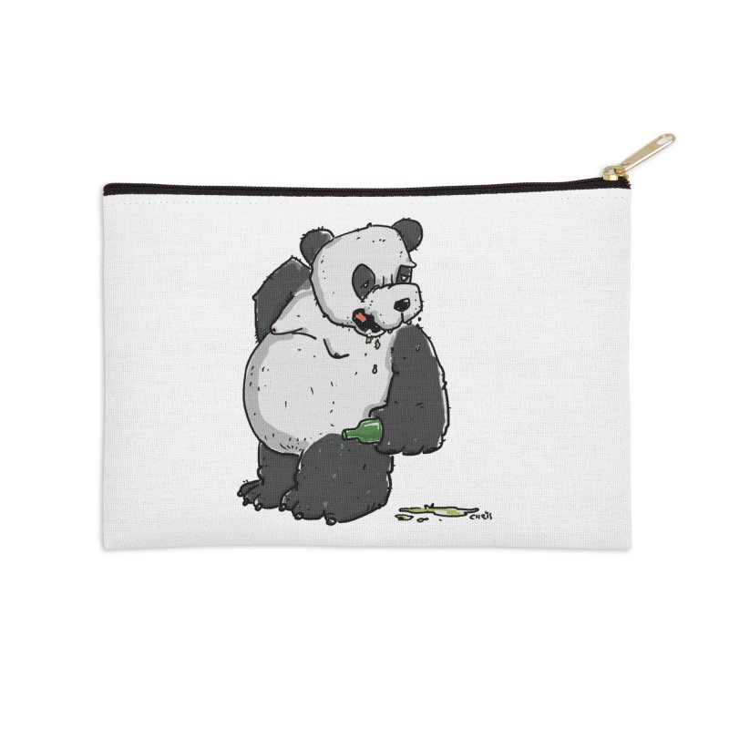 The Panda-Bear drinks Panda-Beer Accessories Zip Pouch by Illustrated Madness