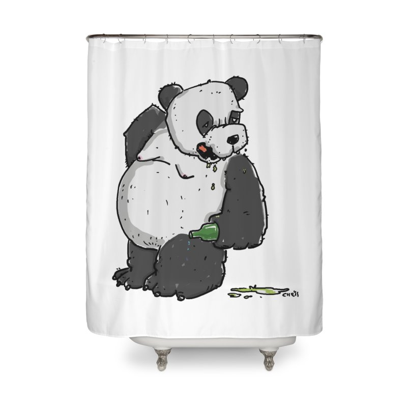 The Panda-Bear drinks Panda-Beer Home Shower Curtain by Illustrated Madness