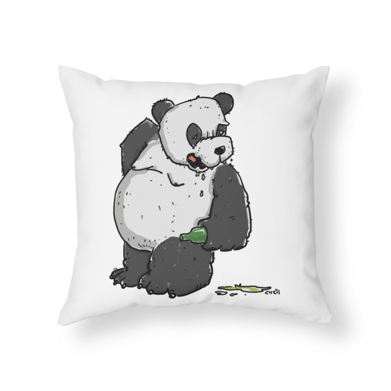 The Panda-Bear drinks Panda-Beer Home Throw Pillow by Illustrated Madness