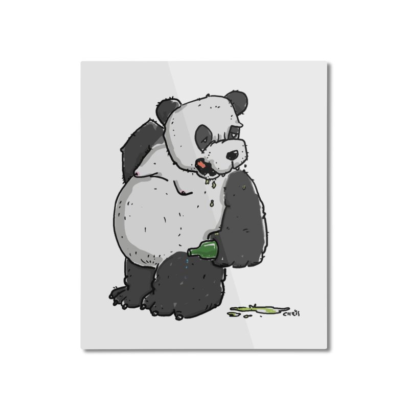 The Panda-Bear drinks Panda-Beer Home Mounted Aluminum Print by Illustrated Madness