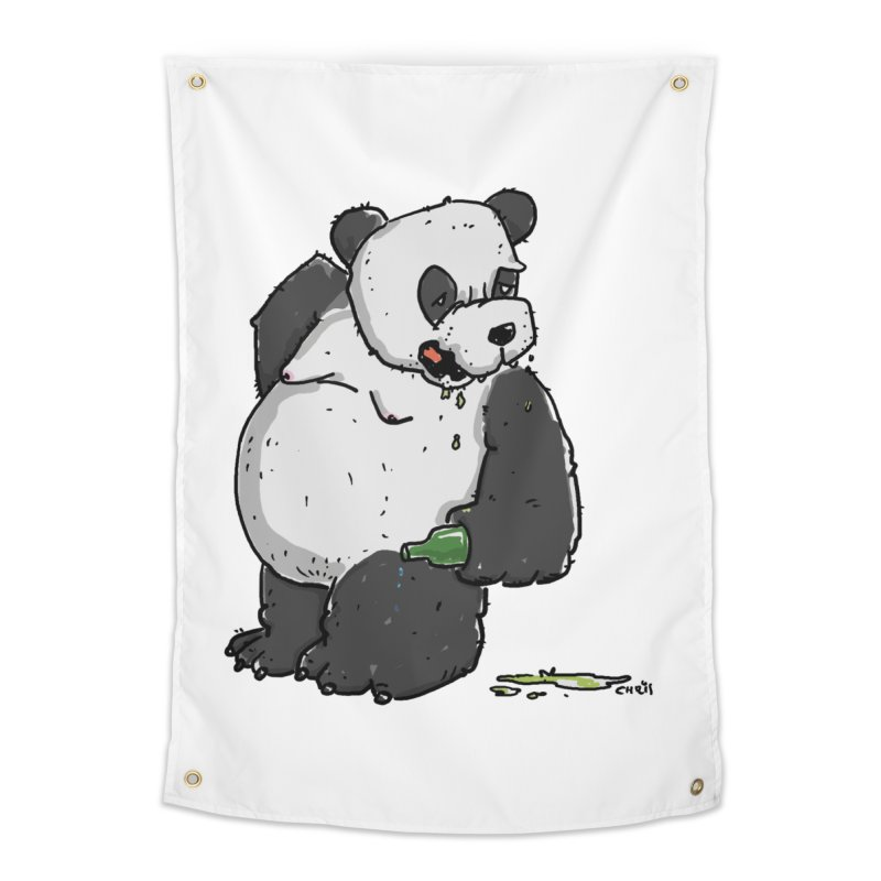 The Panda-Bear drinks Panda-Beer Home Tapestry by Illustrated Madness
