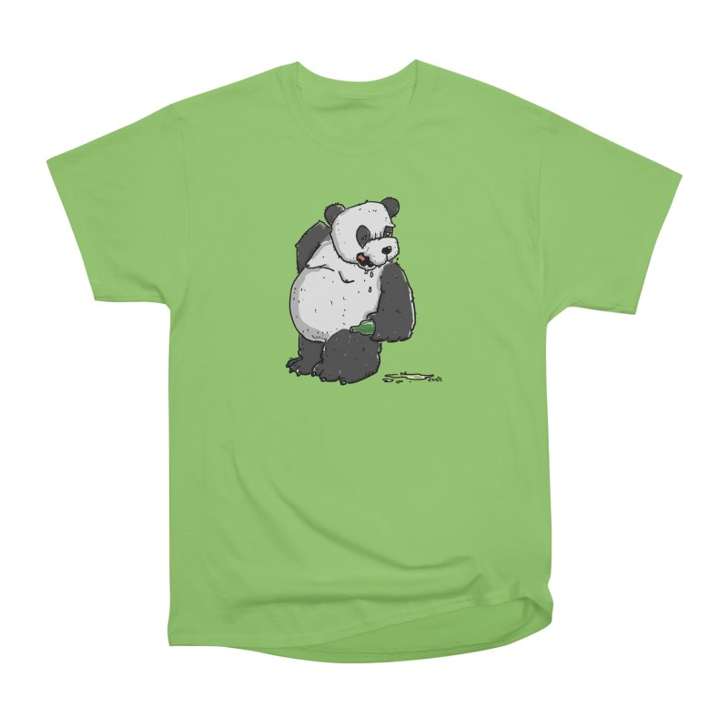 The Panda-Bear drinks Panda-Beer Men's Heavyweight T-Shirt by Illustrated Madness