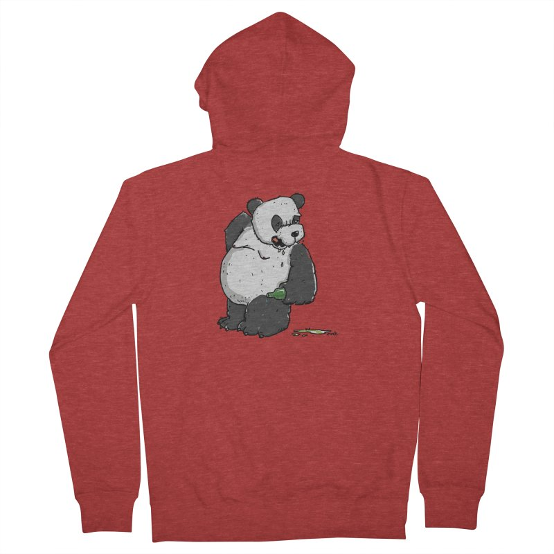 The Panda-Bear drinks Panda-Beer Men's French Terry Zip-Up Hoody by Illustrated Madness
