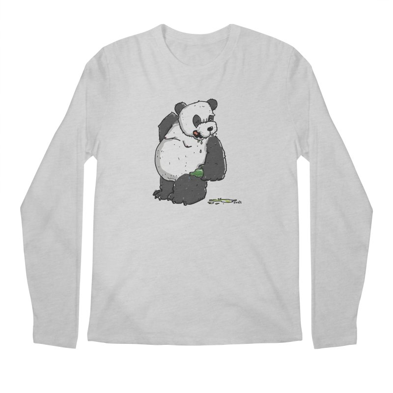 The Panda-Bear drinks Panda-Beer Men's Longsleeve T-Shirt by Illustrated Madness