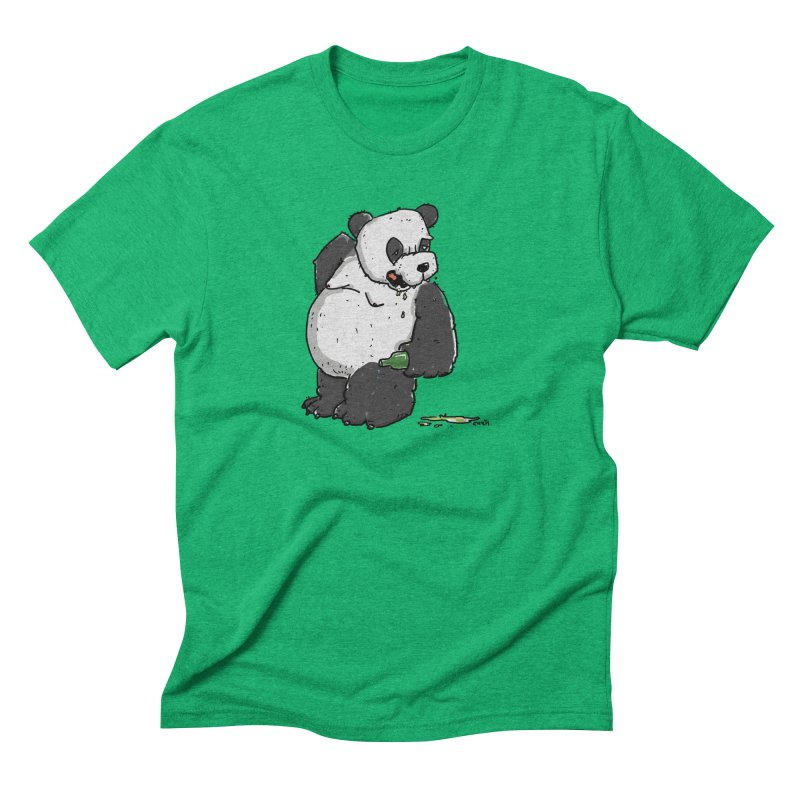 The Panda-Bear drinks Panda-Beer Men's Triblend T-Shirt by Illustrated Madness