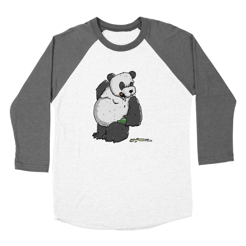 The Panda-Bear drinks Panda-Beer Women's Baseball Triblend Longsleeve T-Shirt by Illustrated Madness