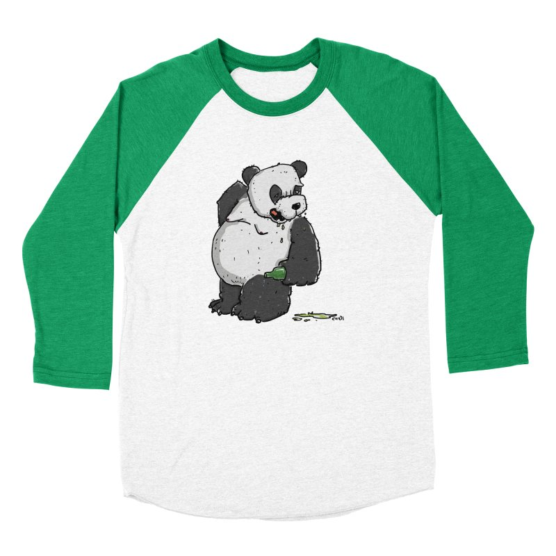 The Panda-Bear drinks Panda-Beer Men's Baseball Triblend Longsleeve T-Shirt by Illustrated Madness