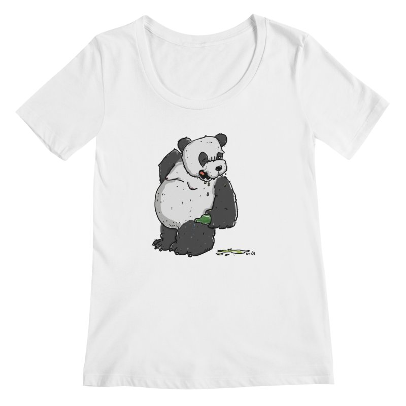 The Panda-Bear drinks Panda-Beer Women's Regular Scoop Neck by Illustrated Madness