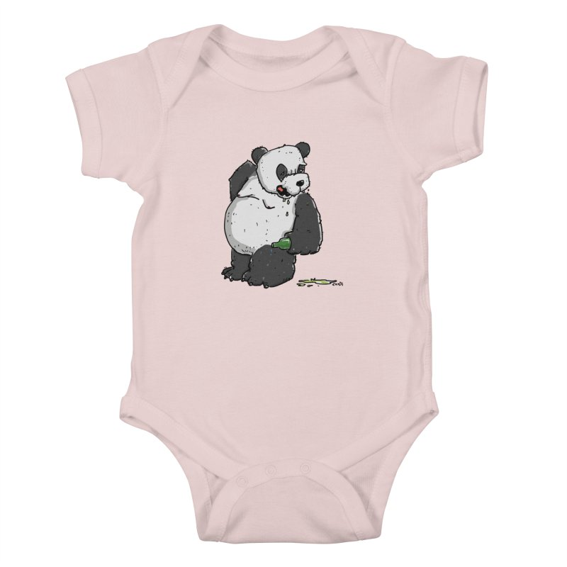 The Panda-Bear drinks Panda-Beer Kids Baby Bodysuit by Illustrated Madness