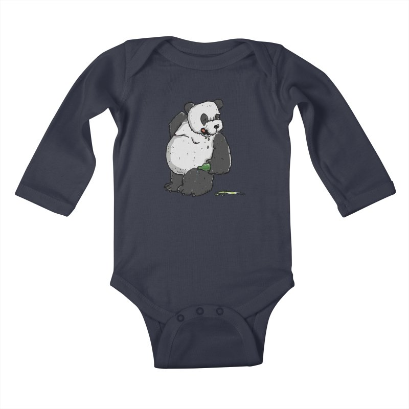 The Panda-Bear drinks Panda-Beer Kids Baby Longsleeve Bodysuit by Illustrated Madness