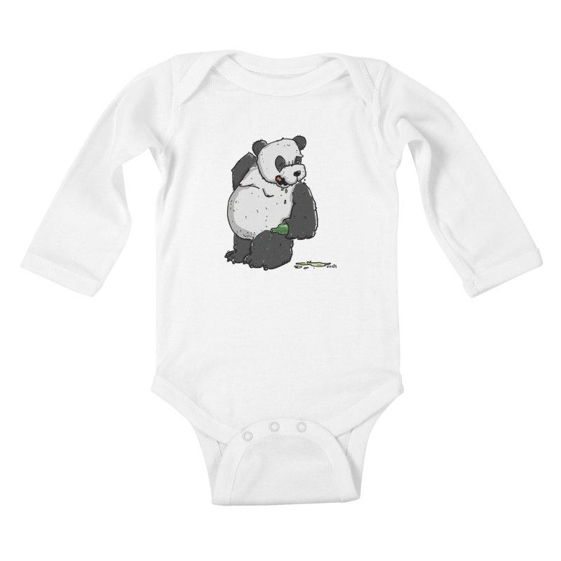 The Panda-Bear drinks Panda-Beer Kids Baby Longsleeve Bodysuit by Illustrated Madness