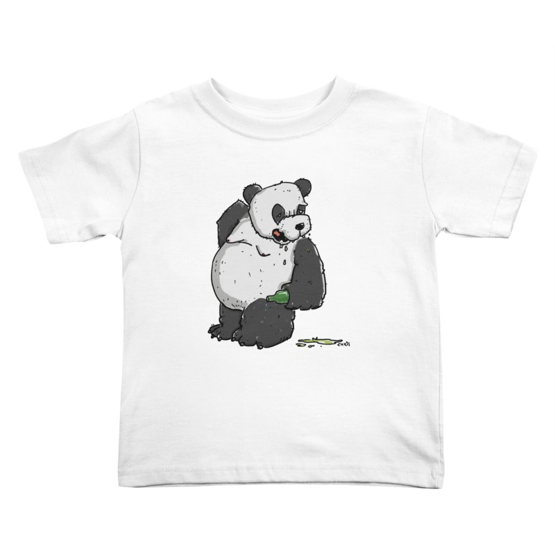 The Panda-Bear drinks Panda-Beer Kids Toddler T-Shirt by Illustrated Madness