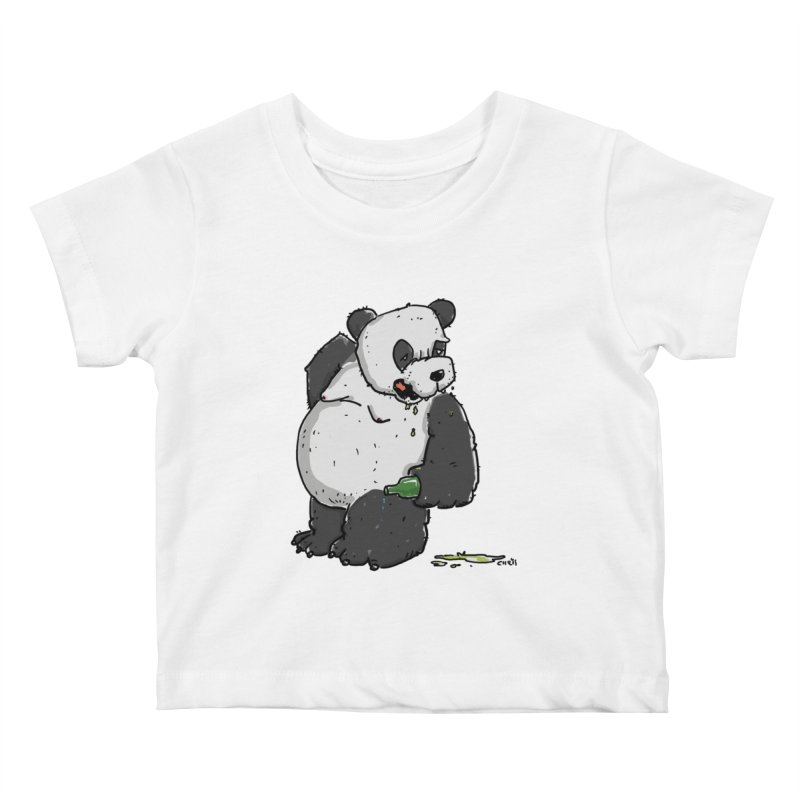 The Panda-Bear drinks Panda-Beer Kids Baby T-Shirt by Illustrated Madness