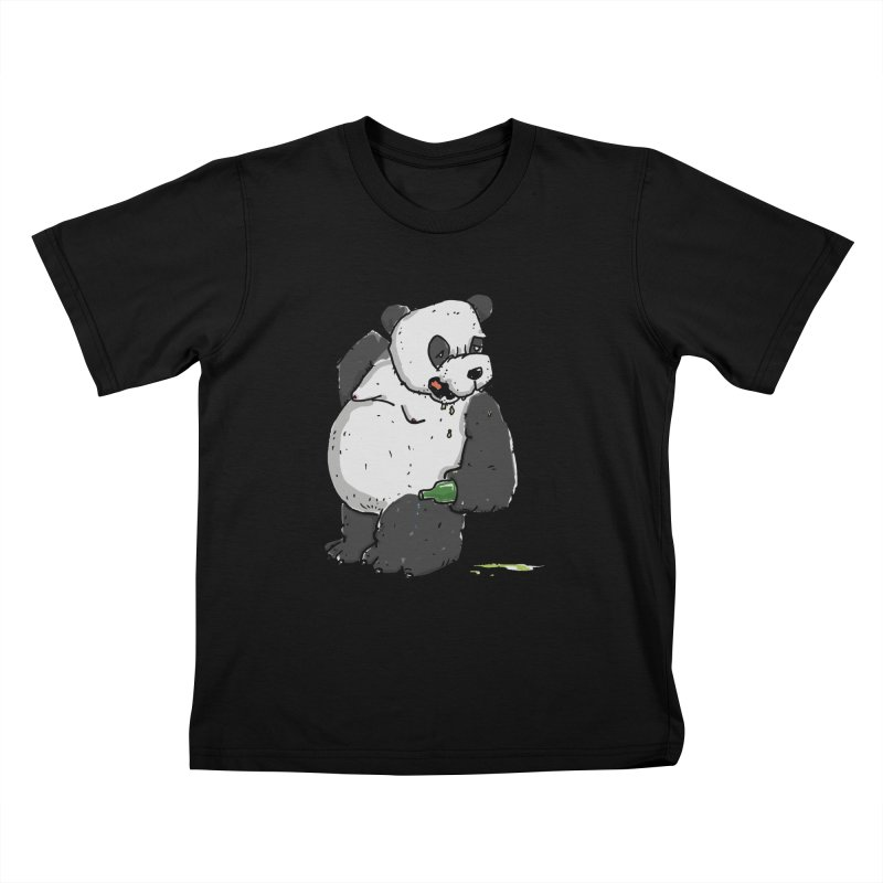 The Panda-Bear drinks Panda-Beer Kids T-Shirt by Illustrated Madness