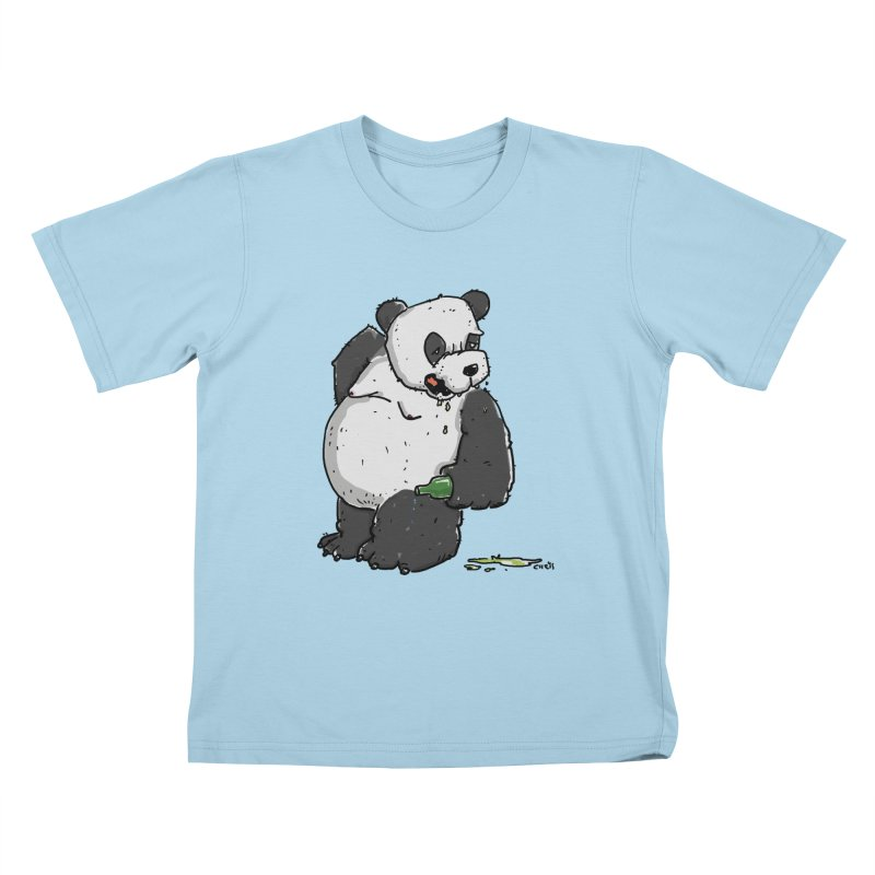 The Panda-Bear drinks Panda-Beer Kids T-Shirt by Illustrated Madness
