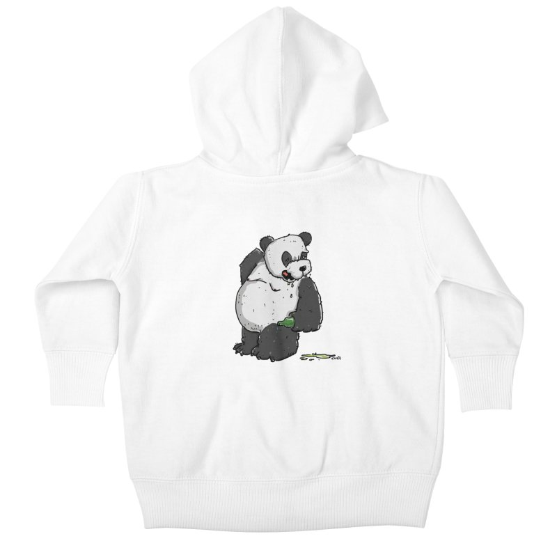 The Panda-Bear drinks Panda-Beer Kids Baby Zip-Up Hoody by Illustrated Madness