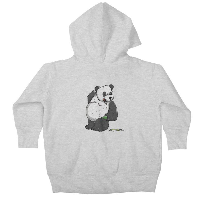 The Panda-Bear drinks Panda-Beer Kids Baby Zip-Up Hoody by Illustrated Madness