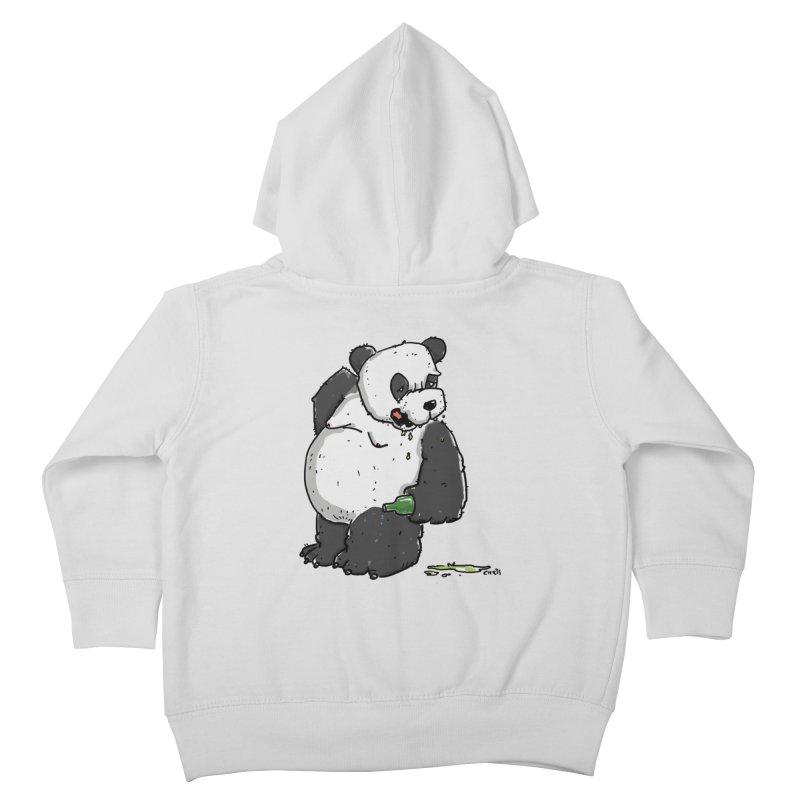 The Panda-Bear drinks Panda-Beer Kids Toddler Zip-Up Hoody by Illustrated Madness
