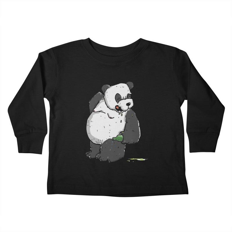 The Panda-Bear drinks Panda-Beer Kids Toddler Longsleeve T-Shirt by Illustrated Madness