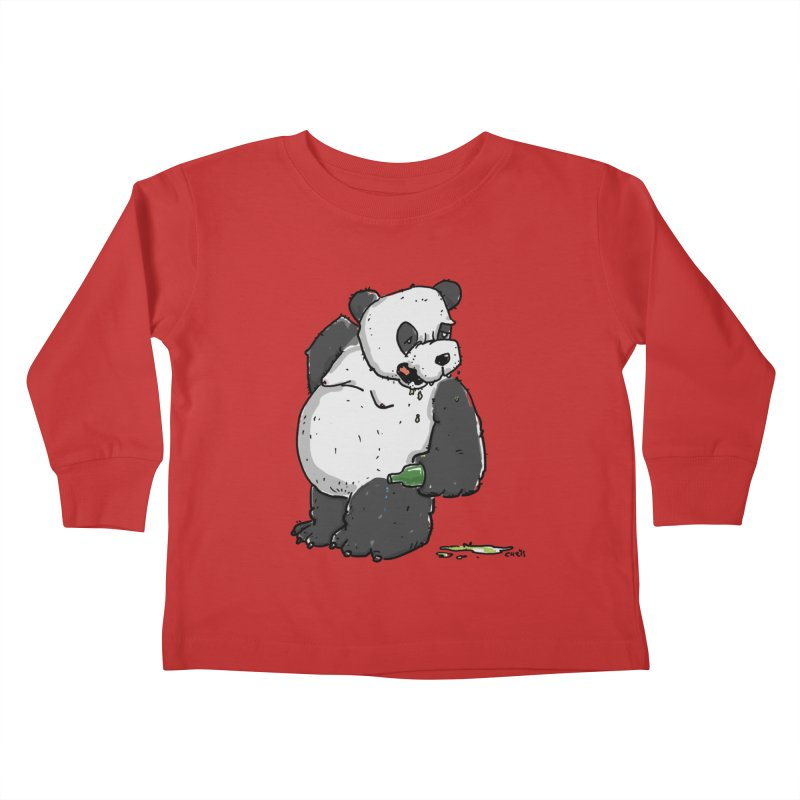 The Panda-Bear drinks Panda-Beer Kids Toddler Longsleeve T-Shirt by Illustrated Madness