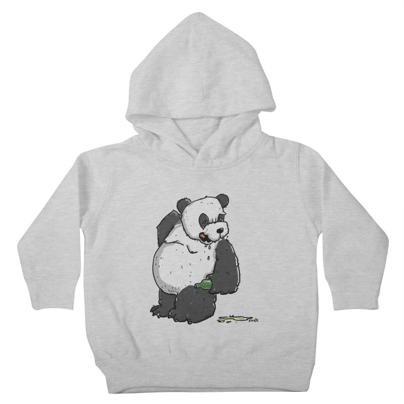 The Panda-Bear drinks Panda-Beer Kids Toddler Pullover Hoody by Illustrated Madness
