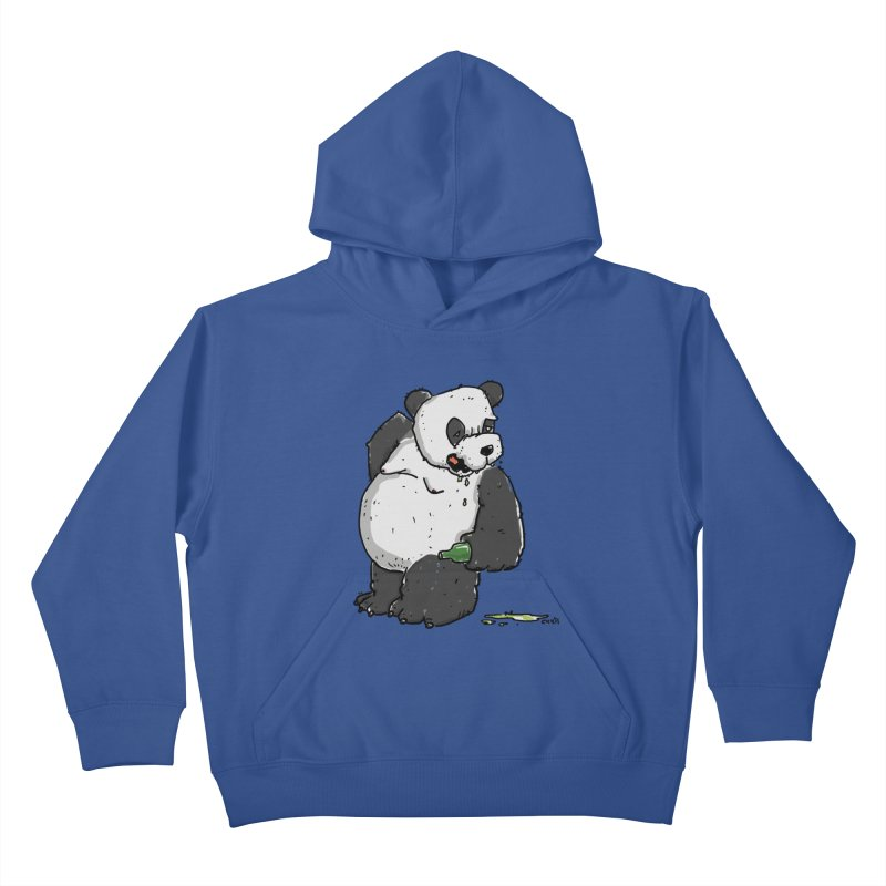The Panda-Bear drinks Panda-Beer Kids Pullover Hoody by Illustrated Madness