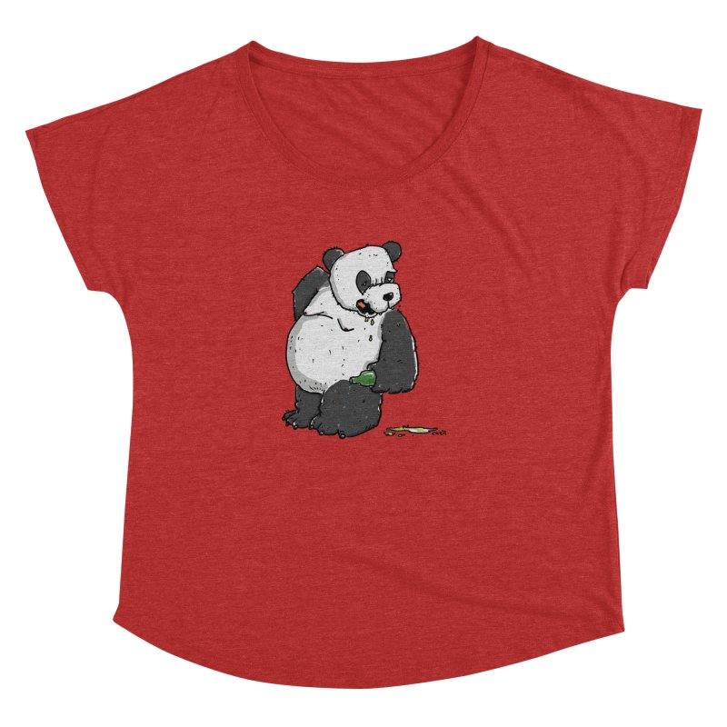 The Panda-Bear drinks Panda-Beer Women's Dolman Scoop Neck by Illustrated Madness