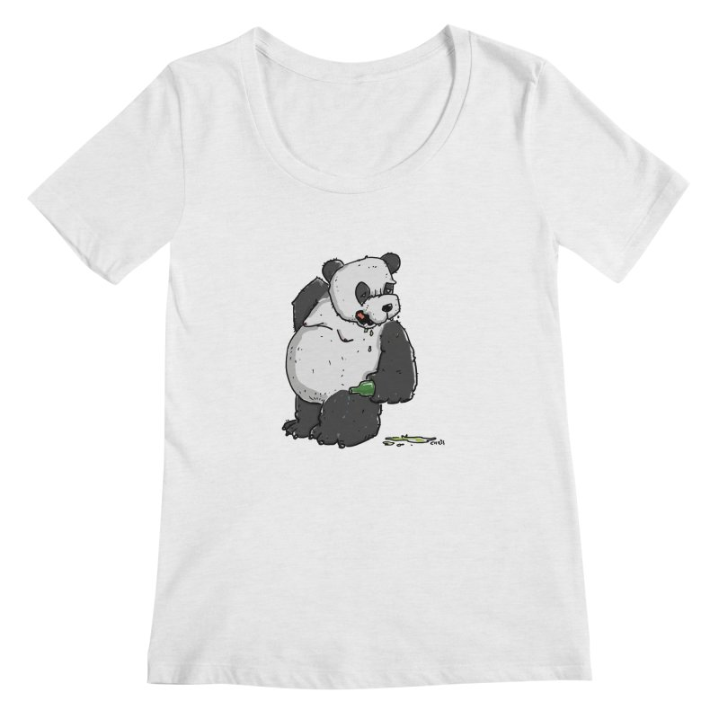 The Panda-Bear drinks Panda-Beer Women's Scoop Neck by Illustrated Madness