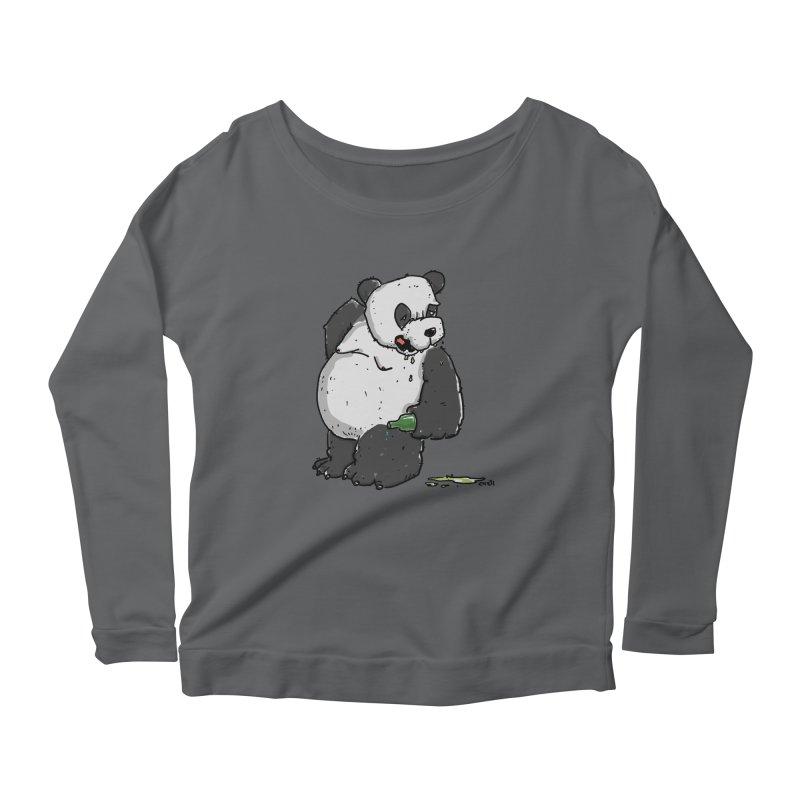 The Panda-Bear drinks Panda-Beer Women's Longsleeve Scoopneck  by Illustrated Madness