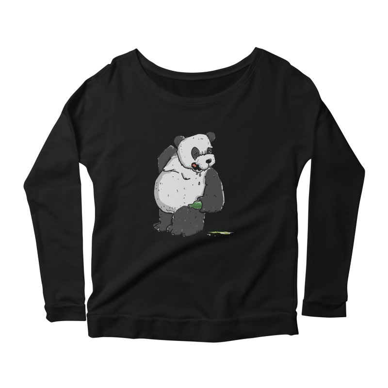The Panda-Bear drinks Panda-Beer Women's Scoop Neck Longsleeve T-Shirt by Illustrated Madness