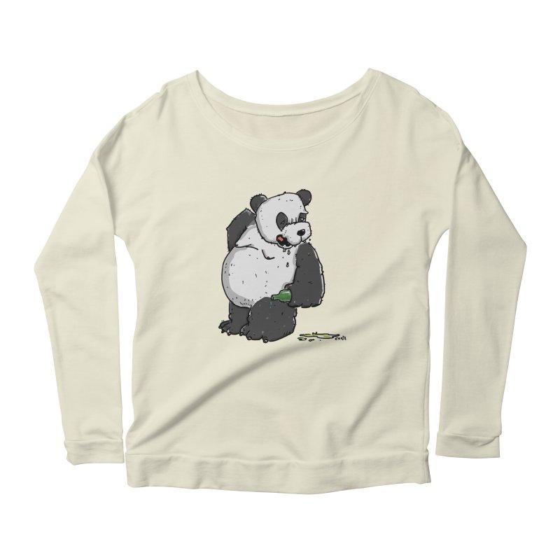 The Panda-Bear drinks Panda-Beer Women's Scoop Neck Longsleeve T-Shirt by Illustrated Madness