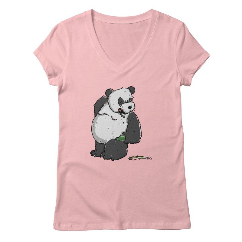 The Panda-Bear drinks Panda-Beer Women's Regular V-Neck by Illustrated Madness