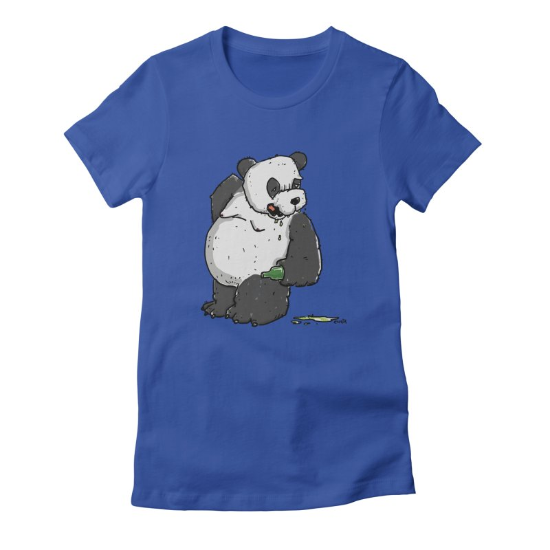 The Panda-Bear drinks Panda-Beer Women's Fitted T-Shirt by Illustrated Madness