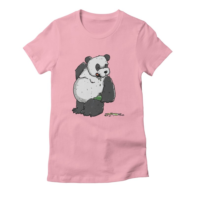 The Panda-Bear drinks Panda-Beer Women's T-Shirt by Illustrated Madness