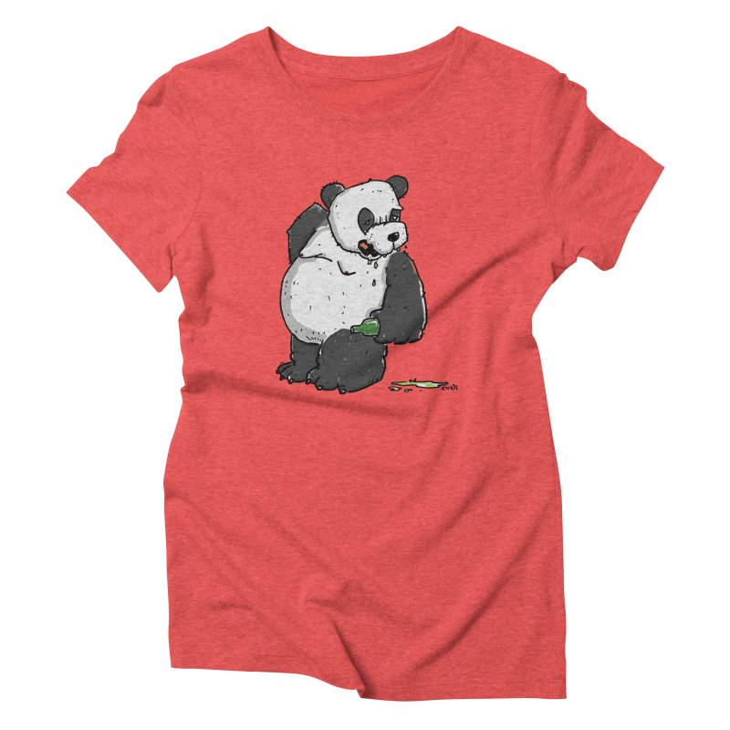 The Panda-Bear drinks Panda-Beer Women's Triblend T-Shirt by Illustrated Madness