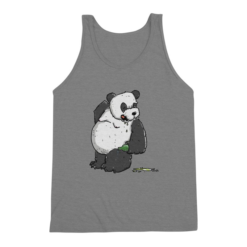 The Panda-Bear drinks Panda-Beer in Men's Triblend Tank Grey Triblend by Illustrated Madness