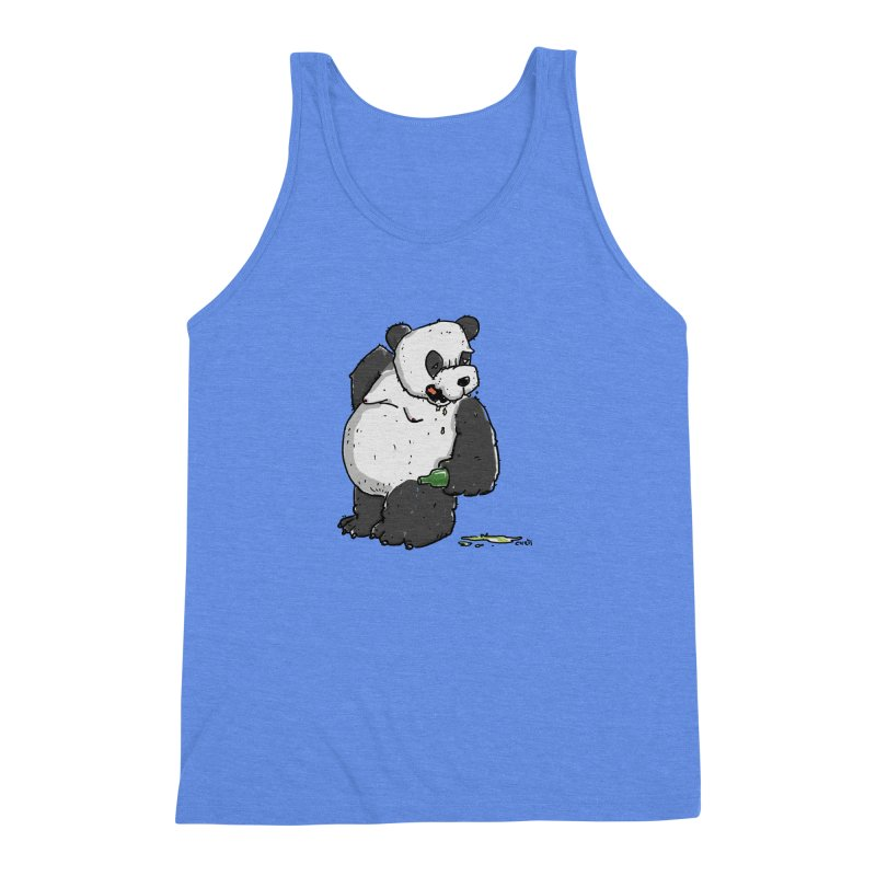 The Panda-Bear drinks Panda-Beer Men's Triblend Tank by Illustrated Madness
