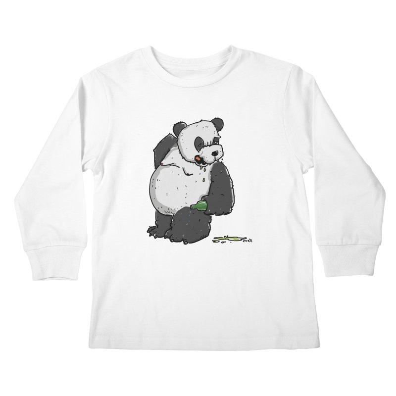 The Panda-Bear drinks Panda-Beer Kids Longsleeve T-Shirt by Illustrated Madness