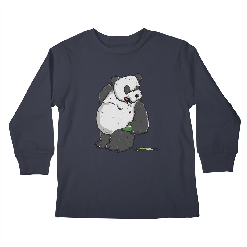 The Panda-Bear drinks Panda-Beer Kids Longsleeve T-Shirt by Illustrated Madness