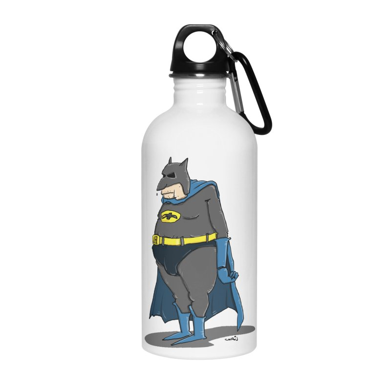 Not Bat but Fat. Fatman. Accessories Water Bottle by Illustrated Madness