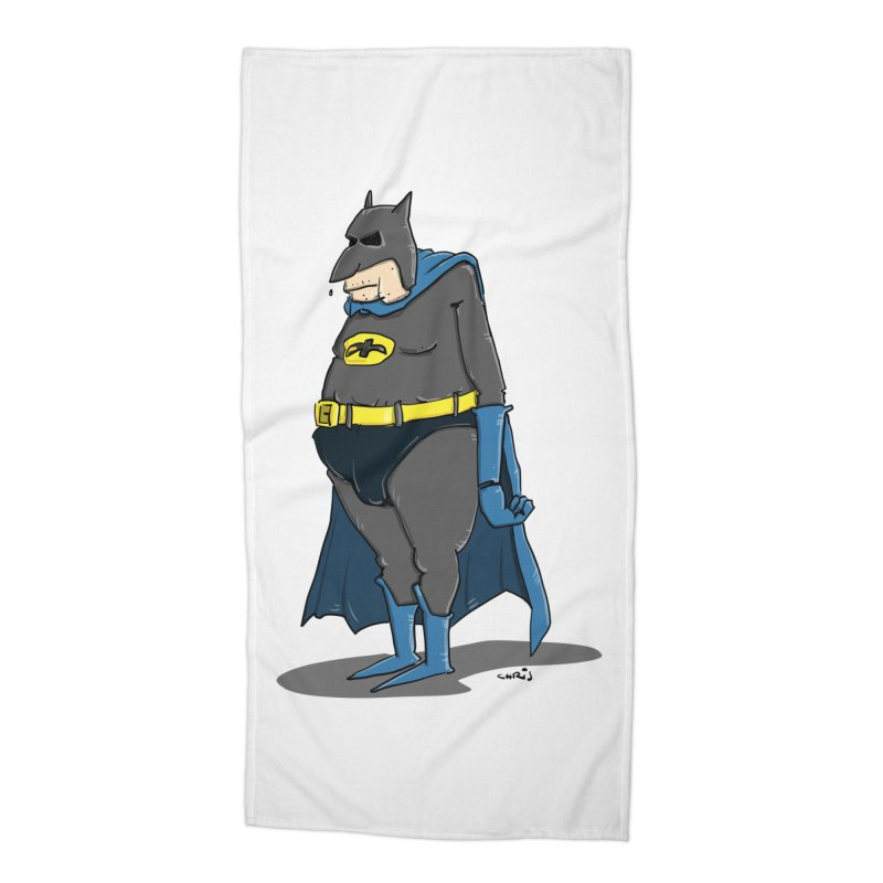 Not Bat but Fat. Fatman. Accessories Beach Towel by Illustrated Madness