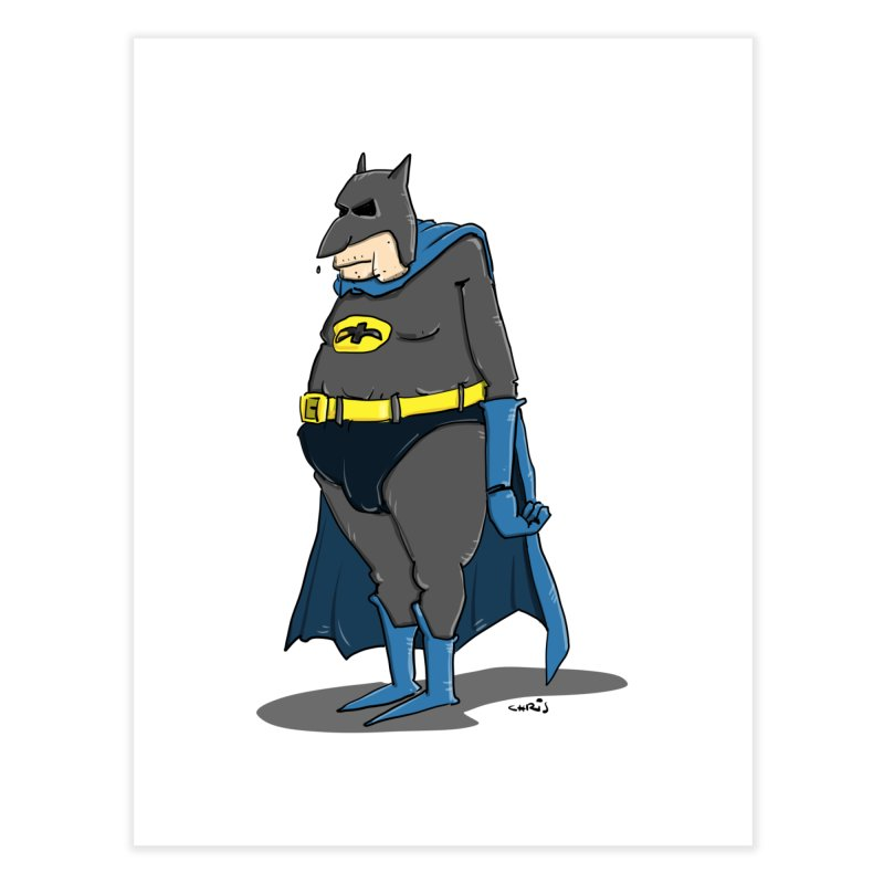 Not Bat but Fat. Fatman. Home Fine Art Print by Illustrated Madness