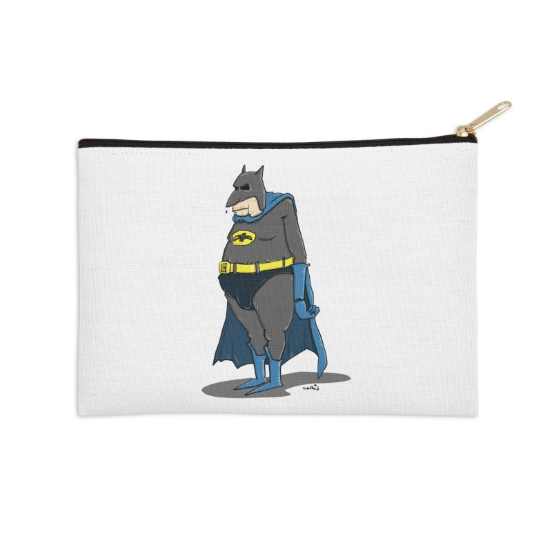 Not Bat but Fat. Fatman. Accessories Zip Pouch by Illustrated Madness