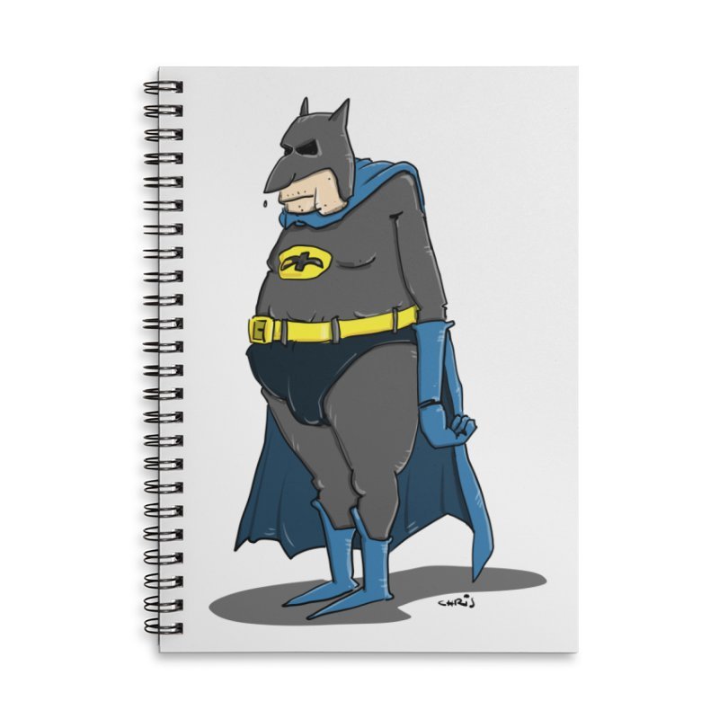 Not Bat but Fat. Fatman. Accessories Lined Spiral Notebook by Illustrated Madness