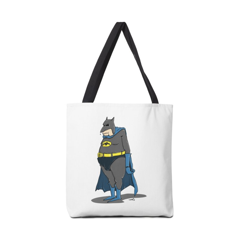 Not Bat but Fat. Fatman. Accessories Tote Bag Bag by Illustrated Madness