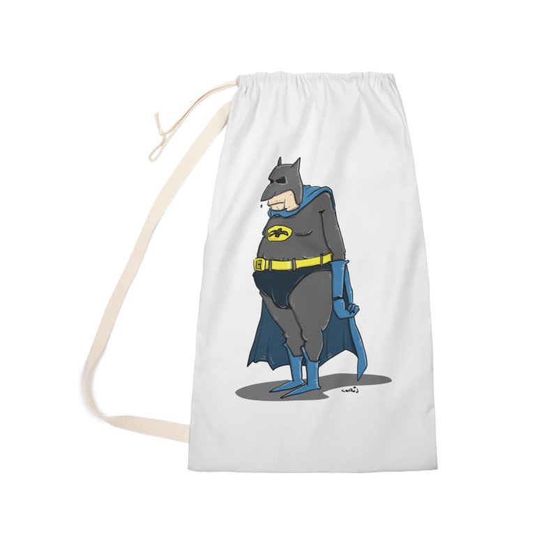 Not Bat but Fat. Fatman. Accessories Laundry Bag Bag by Illustrated Madness
