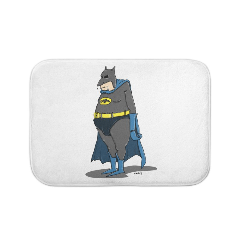 Not Bat but Fat. Fatman. Home Bath Mat by Illustrated Madness