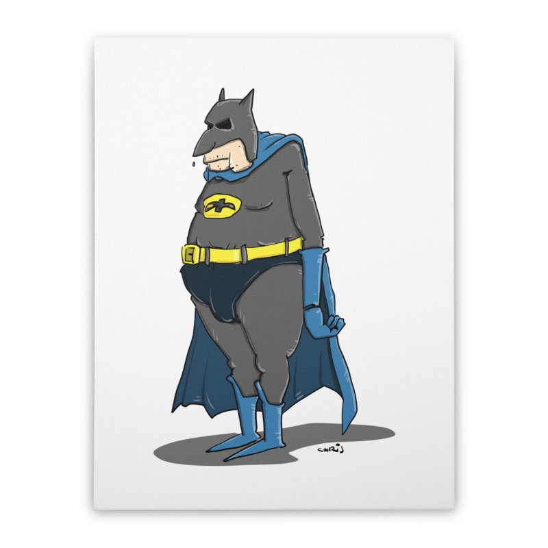 Not Bat but Fat. Fatman. Home Stretched Canvas by Illustrated Madness