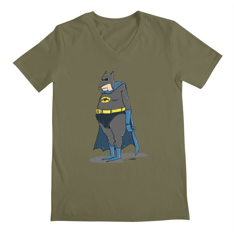 Not Bat but Fat. Fatman. Men's V-Neck by Illustrated Madness